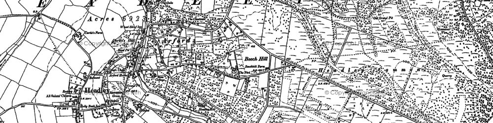 Old map of Headley Down in 1909
