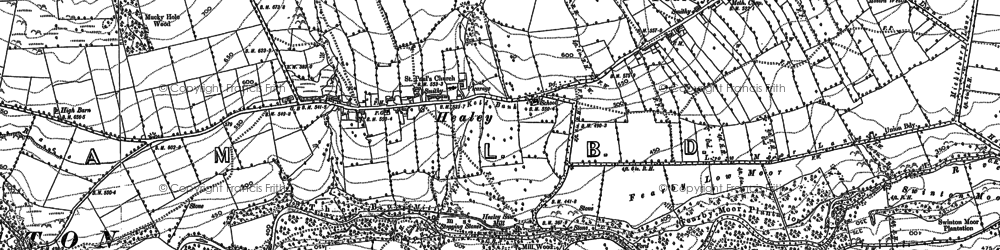 Old map of Agra Moor in 1890