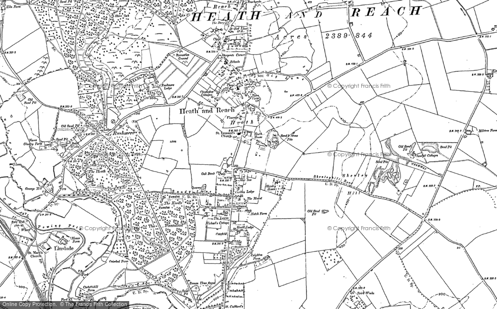 Old Map of Historic Map covering Rushmere in 1900