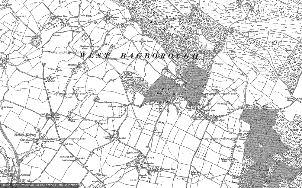 Old Map of Historic Map covering Bagborough Ho in 1887