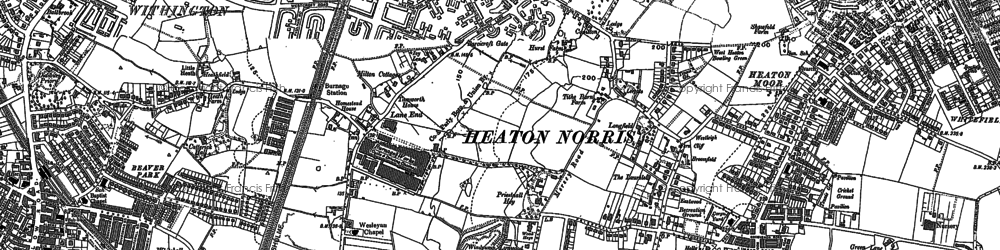 Old map of Heaton Mersey in 1897
