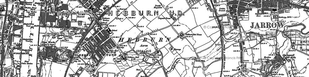 Old map of Hebburn in 1913