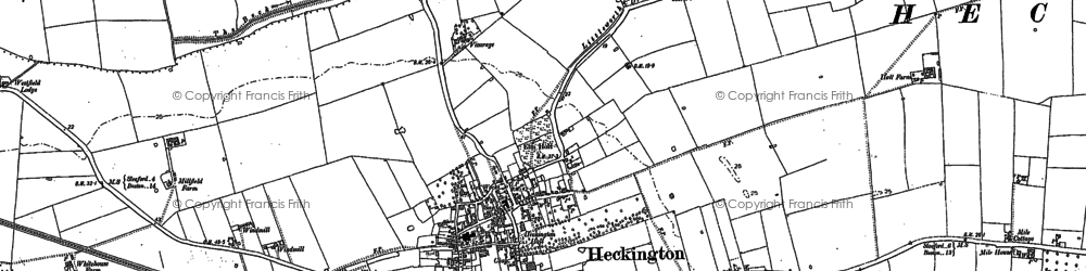 Old map of Heckington in 1887