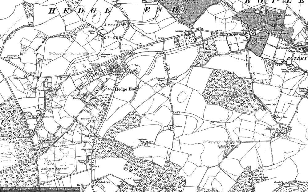 Old Map of Hedge End, 1895 in 1895