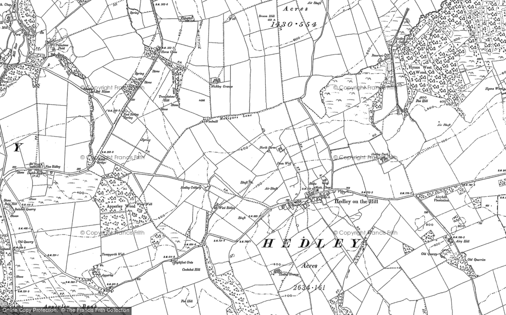 Old Map of Historic Map covering Woodhead in 1895