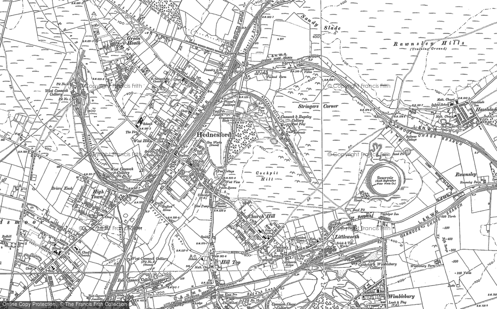 Old Map of Hednesford, 1883 in 1883