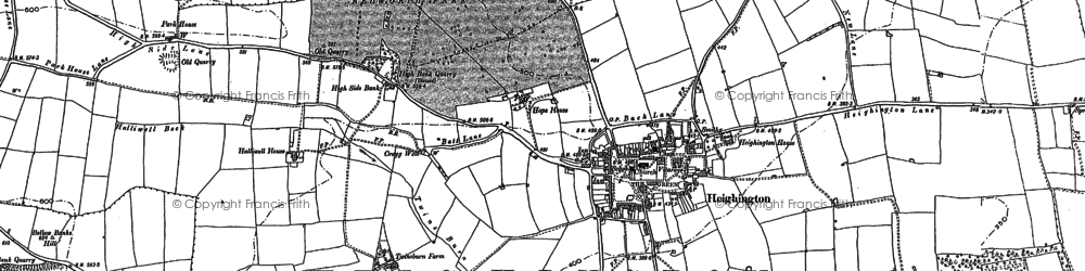 Old map of Heighington in 1896