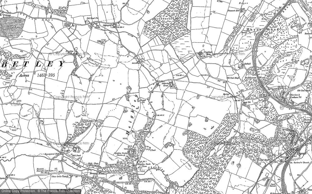 Old Map of Historic Map covering Adderley Green in 1878