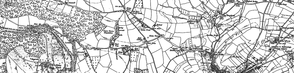 Old map of Ausewell Rocks in 1885