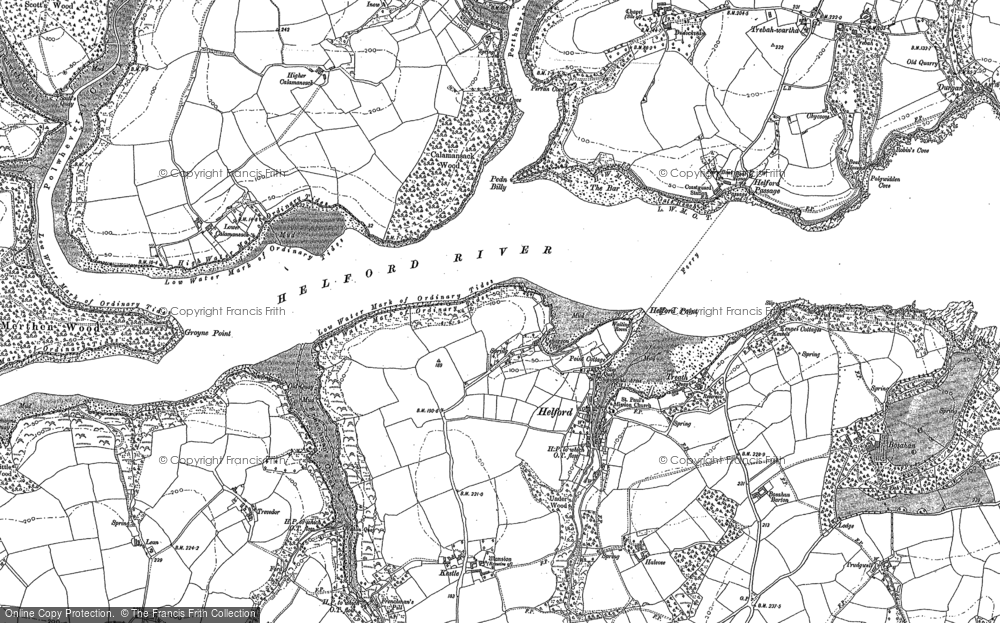 Old Map of Helford, 1906 in 1906
