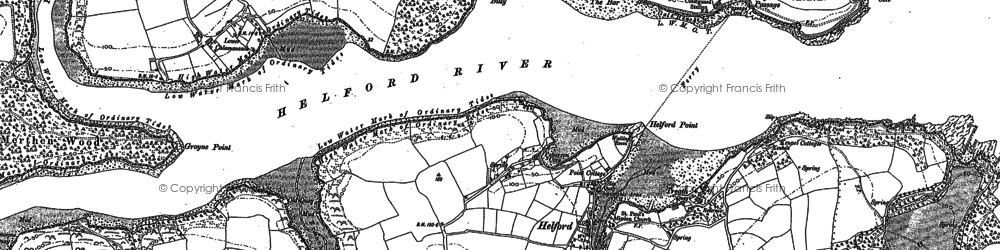 Old map of Helford in 1906