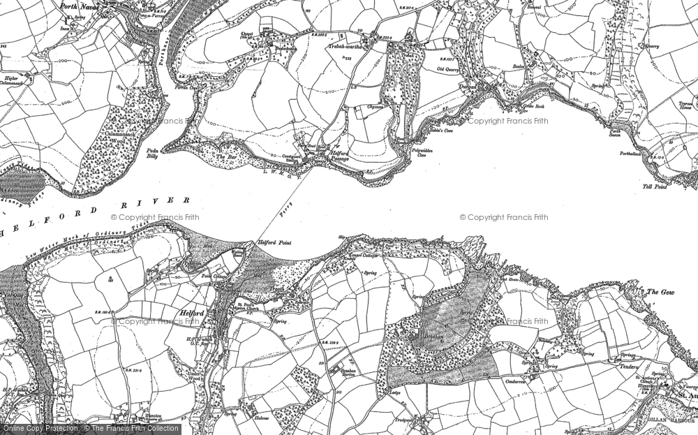 Old Map of Helford Passage, 1906 in 1906