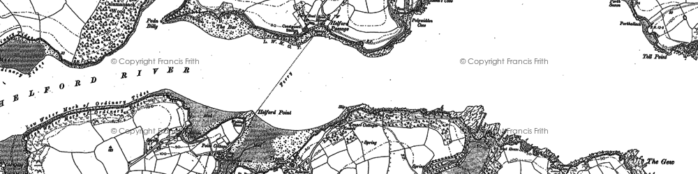 Old map of Helford Passage in 1906