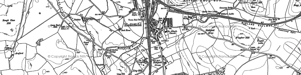 Old map of Hellifield in 1907