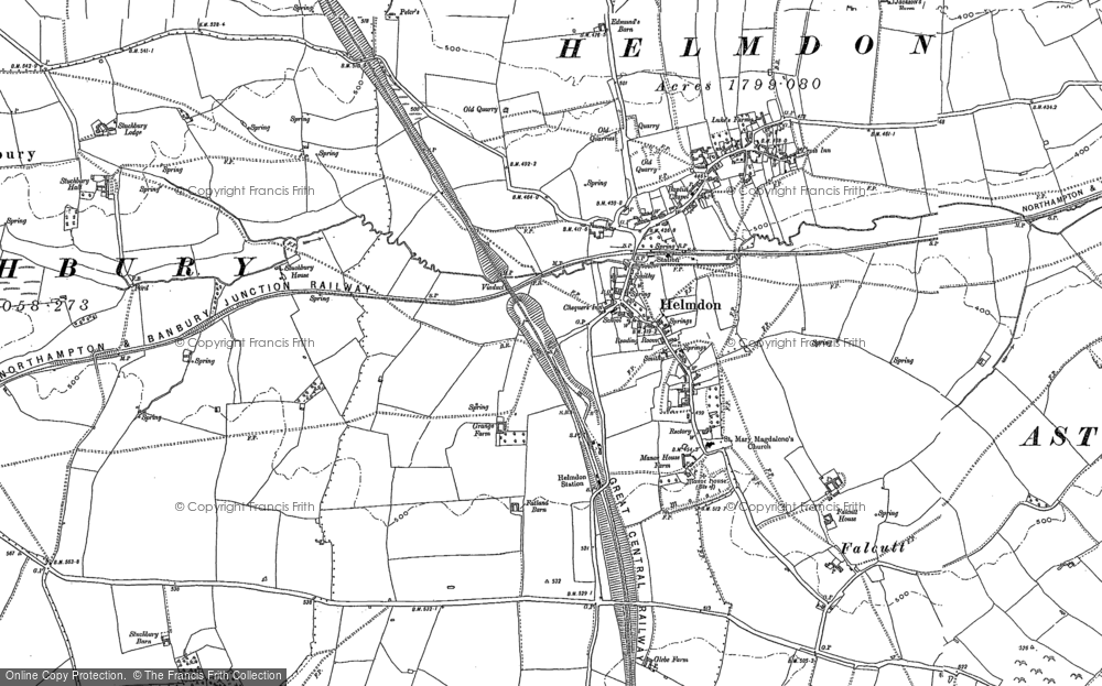 Old Map of Historic Map covering Astwell Ho in 1883