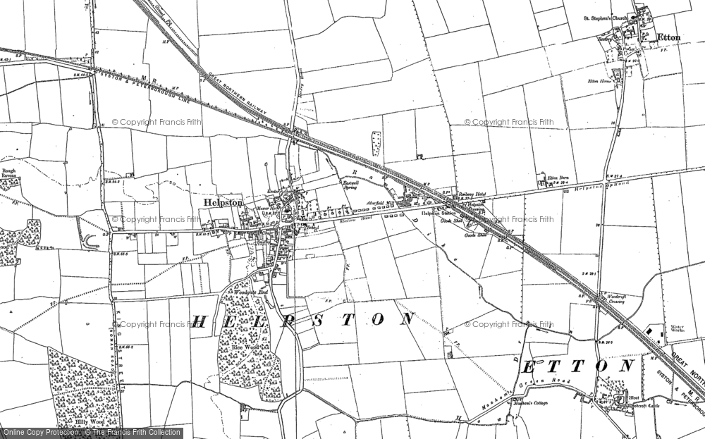 Old Map of Historic Map covering Woodcroft Castle in 1899