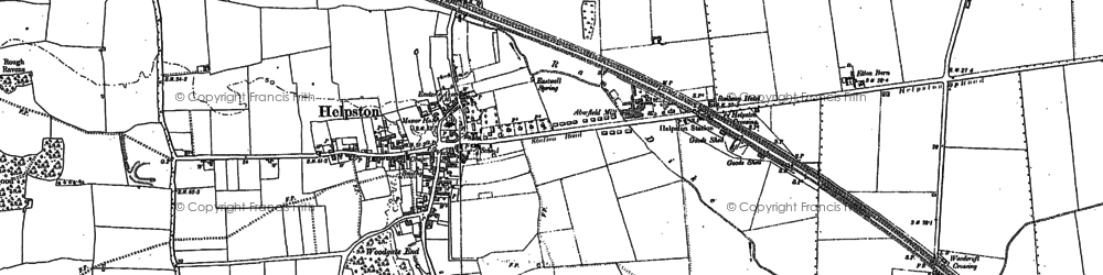 Old map of Helpston in 1899