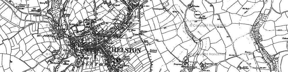 Old map of Helston in 1906