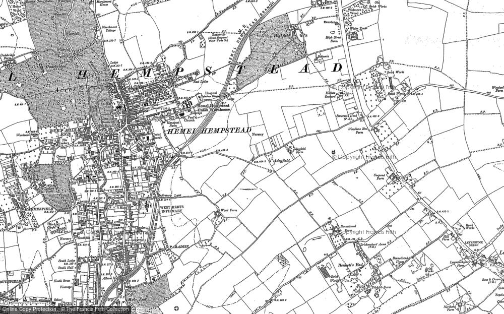 Map of Hemel Hempstead, 1897 - 1922