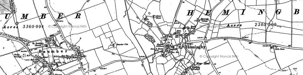 Old map of Asterby Grange in 1887