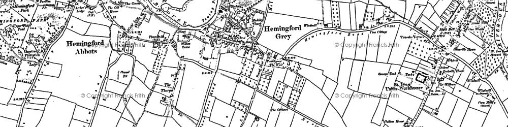 Old map of Hemingford Grey in 1887