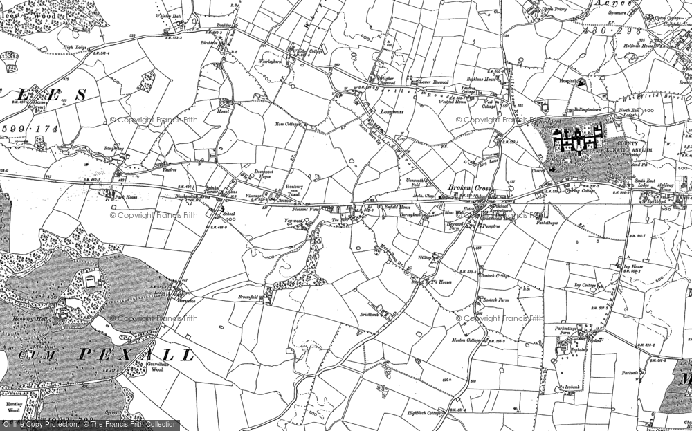 Old Map of Historic Map covering Whirley Grove in 1897