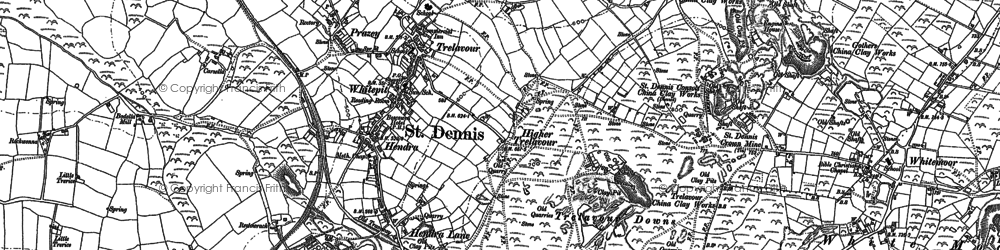 Old map of Hendra in 1879