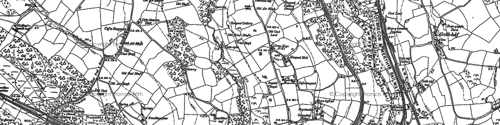 Old map of Hengoed in 1898