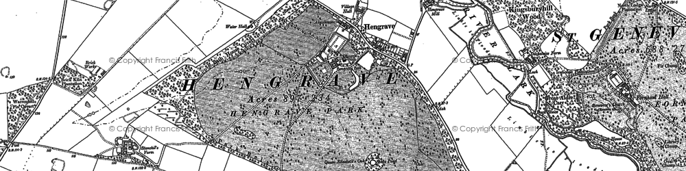 Old map of Hengrave in 1883