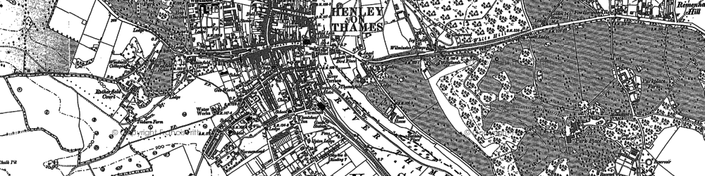Old map of Henley-on-Thames in 1897