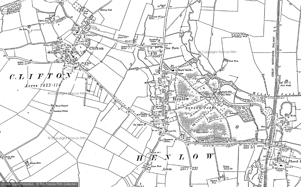 Old Map of Henlow, 1882 - 1900 in 1882