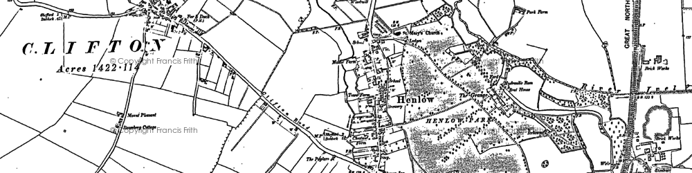 Old map of Henlow in 1882
