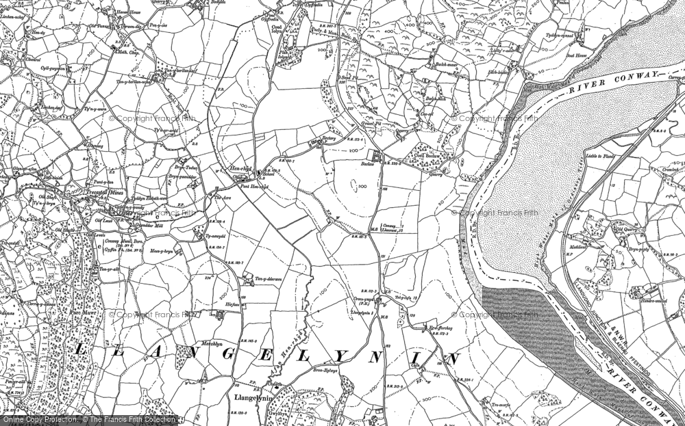 Old Map of Historic Map covering Afon Conwy in 1887