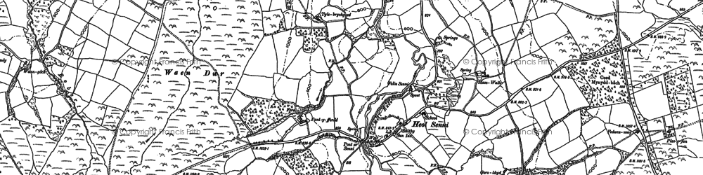 Old map of Afon Senni in 1886