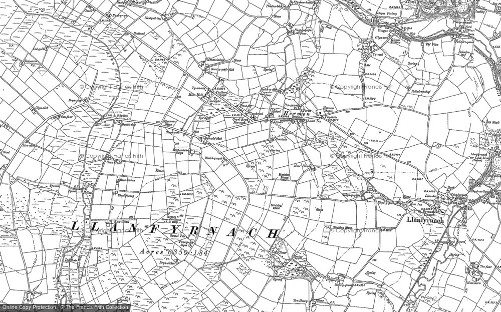 Old Map of Historic Map covering Afon Gafel in 1905