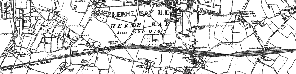 Old map of Herne Bay in 1906