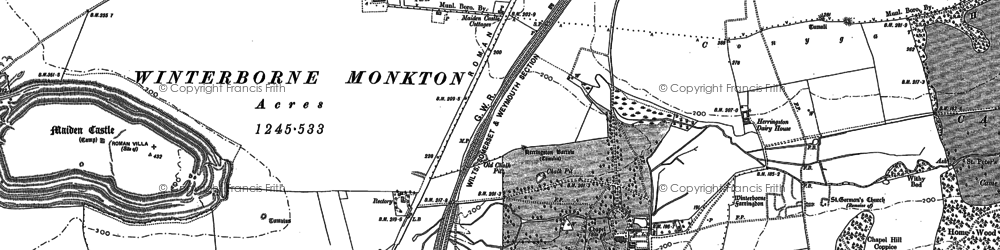 Old map of Winterbourne Faringdon Village in 1886