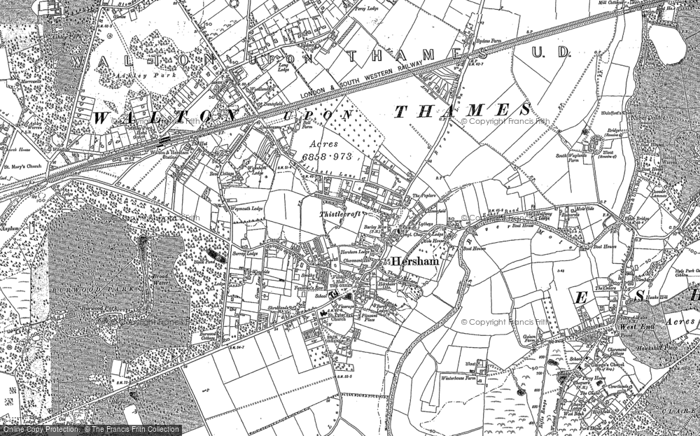 Old Map of Hersham, 1895 in 1895