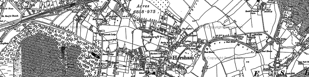 Old map of Hersham in 1895