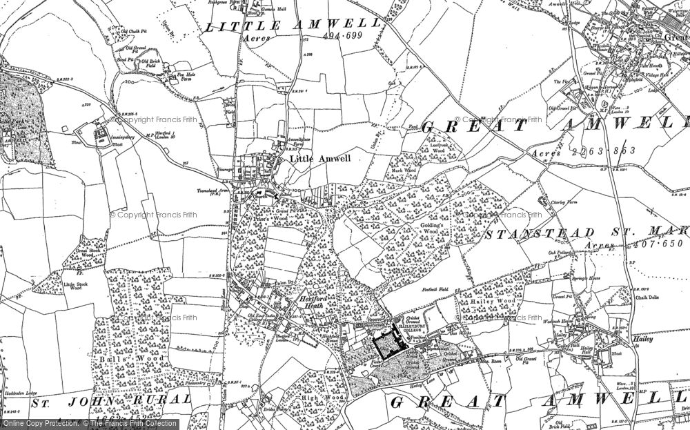 Old Map of Historic Map covering Balls Wood in 1896