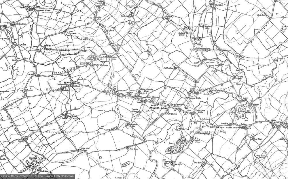 Old Map of Historic Map covering Leach Ho in 1892