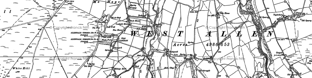 Old map of Whitewalls Burn in 1895