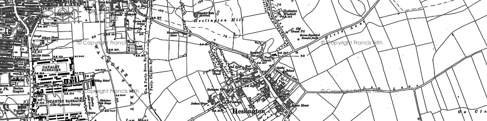 Old map of Heslington in 1890