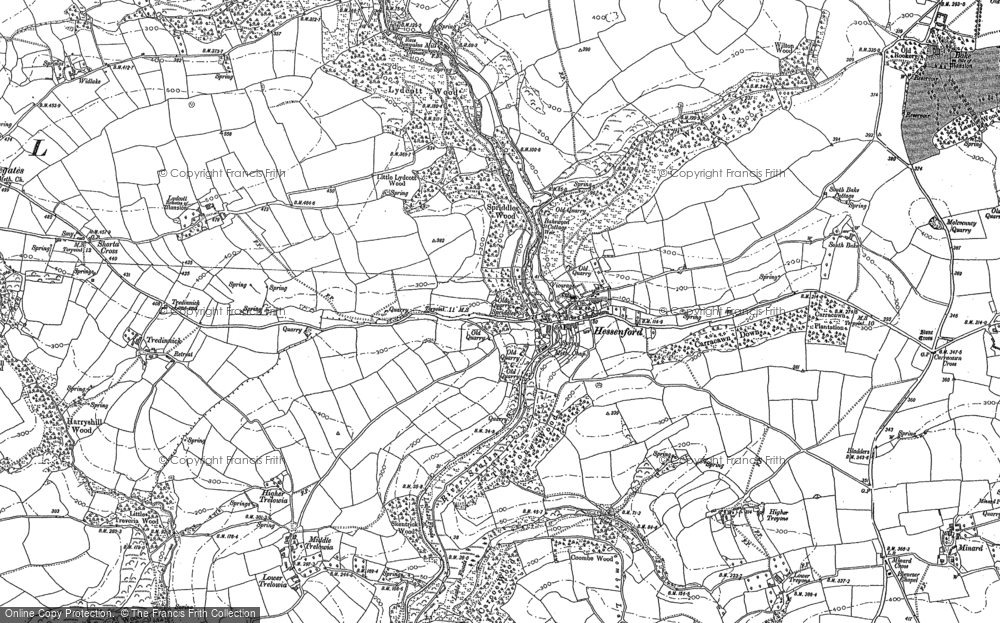 Old Map of Historic Map covering Bake Wood in 1881
