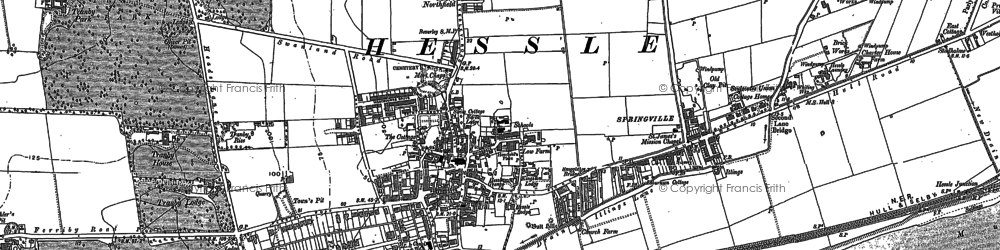 Old map of Hessle in 1908