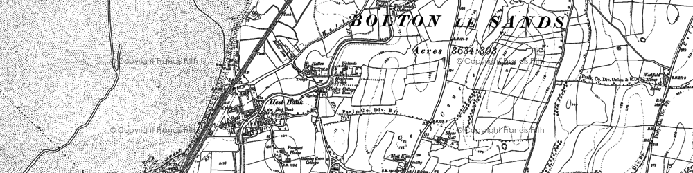 Old map of Hest Bank in 1889