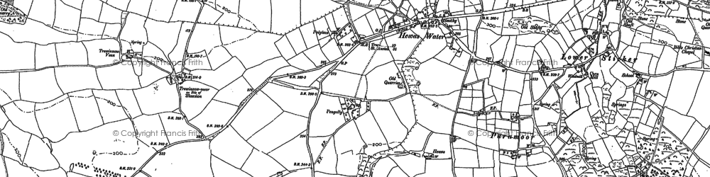 Old map of Hewas Water in 1879