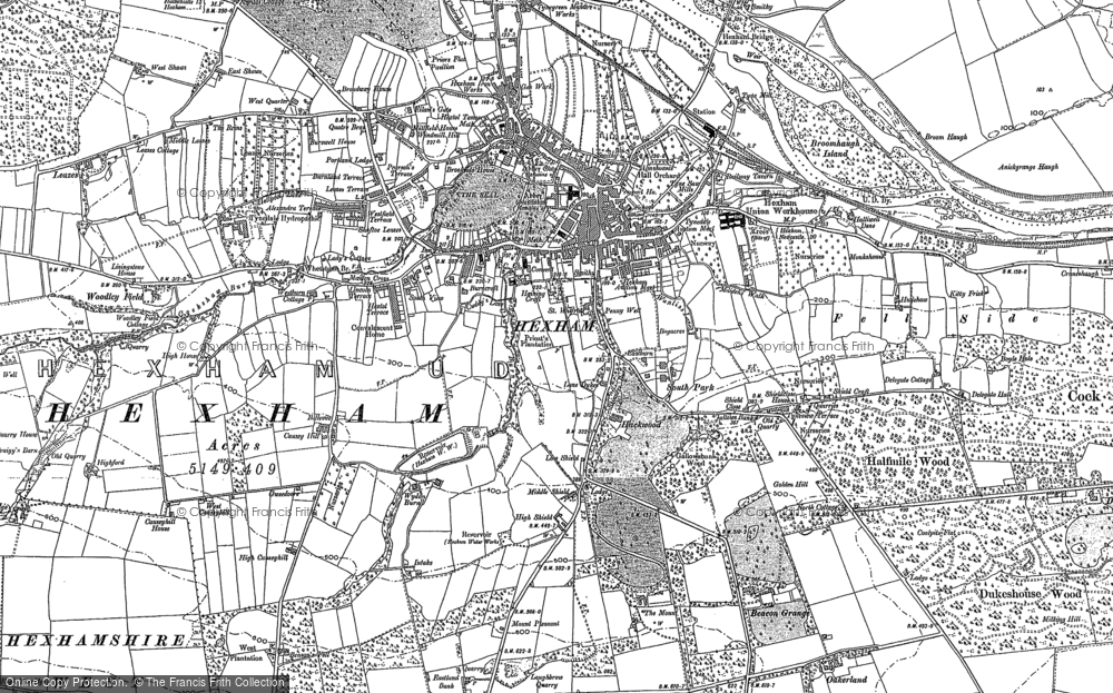 Map of Hexham, 1895