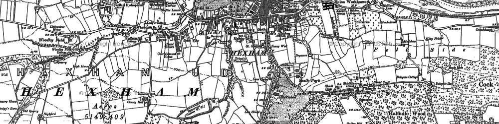 Old map of Wydon Burn in 1895