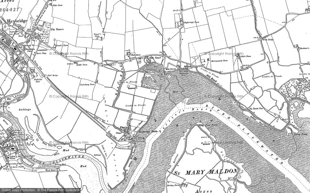 Old Map of Heybridge Basin, 1895 in 1895